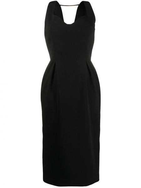 Приталенное платье миди со складками с V-образным вырезом без рукавов Versace