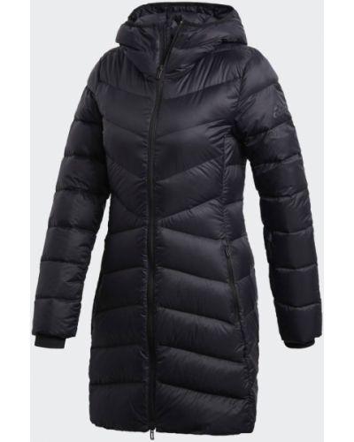 Черный теплый пуховик длинный Adidas