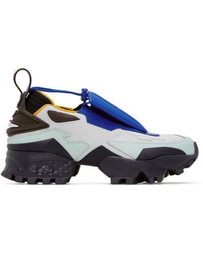 Черные кожаные кроссовки сетчатые на каблуке на шнуровке Reebok By Pyer Moss