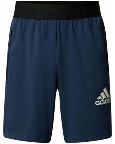 Niebieskie szorty bawełniane z printem Adidas Performance