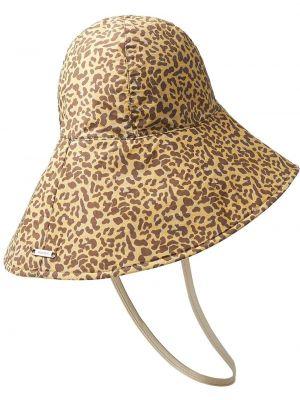 Brązowy kapelusz srebrny z printem Jimmy Choo