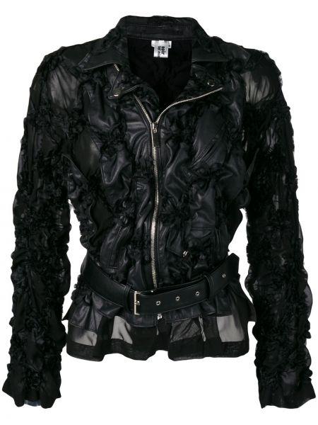Кожаная куртка черная на молнии Comme Des Garçons Noir Kei Ninomiya
