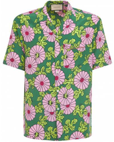 Różowa koszula z jedwabiu z printem Gucci
