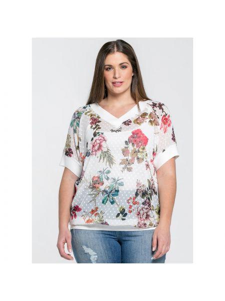 Блузка с V-образным вырезом свободного кроя с рисунком из вискозы Mat Fashion
