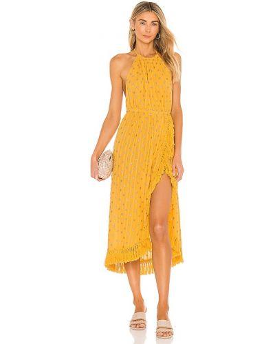 Хлопковое желтое платье с бахромой Sundress