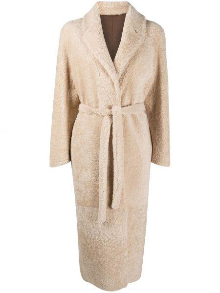 Кожаное длинное пальто двубортное Simonetta Ravizza