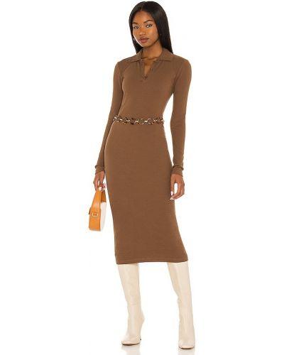 Трикотажное платье миди - коричневое Pam & Gela