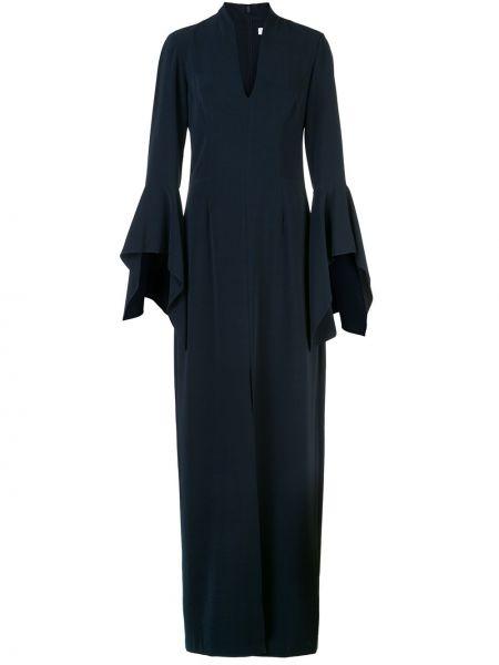 Платье макси с V-образным вырезом синее Halston Heritage