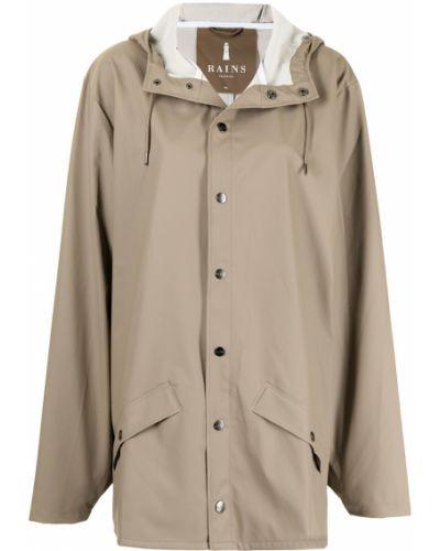 Коричневая куртка с капюшоном Rains