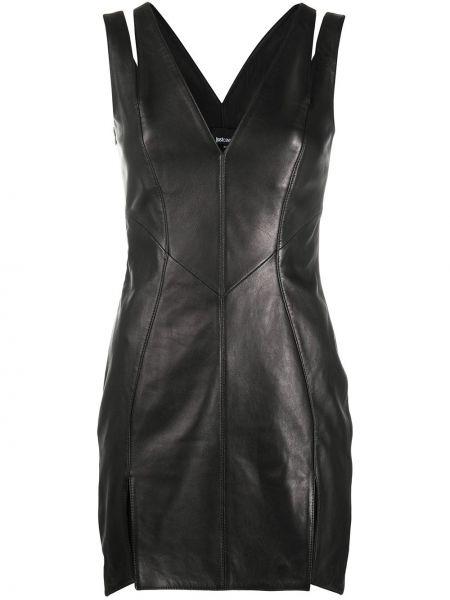 Облегающее кожаное черное платье мини Just Cavalli