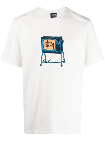 Прямая хлопковая белая футболка Stussy