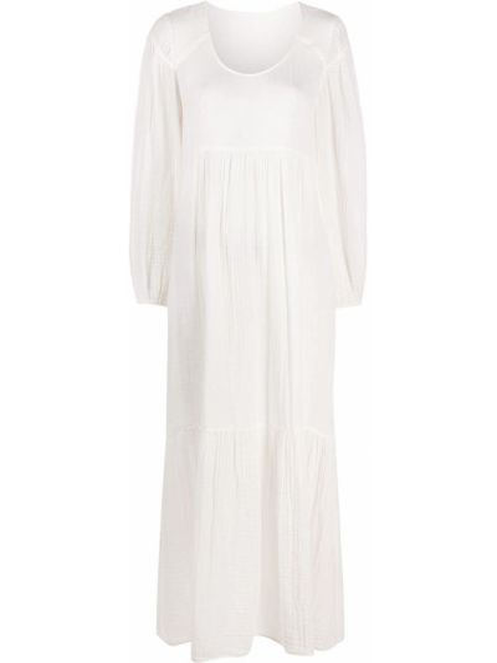 Хлопковое белое платье макси с длинными рукавами с карманами Raquel Allegra