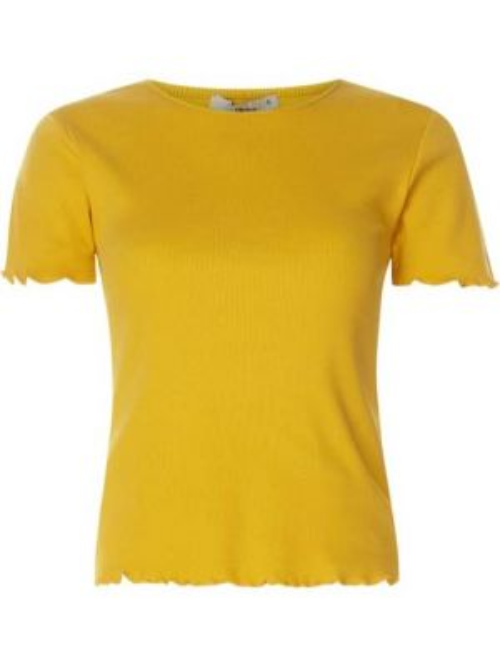 Żółta bluzka z falbanami krótki rękaw Ltb