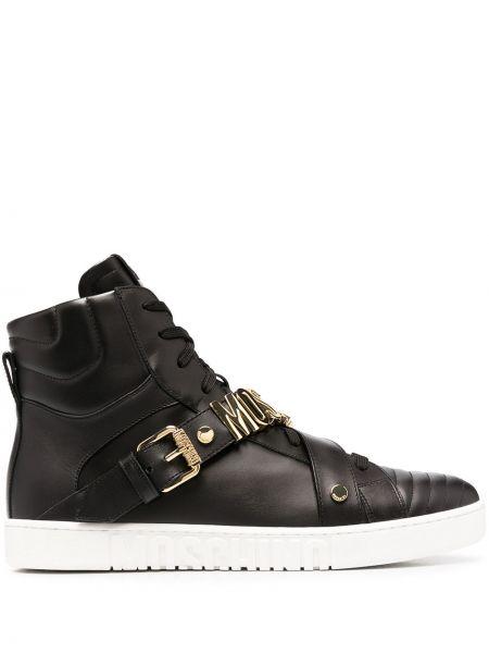 Skórzany czarny skórzane sneakersy na sznurowadłach okrągły Moschino