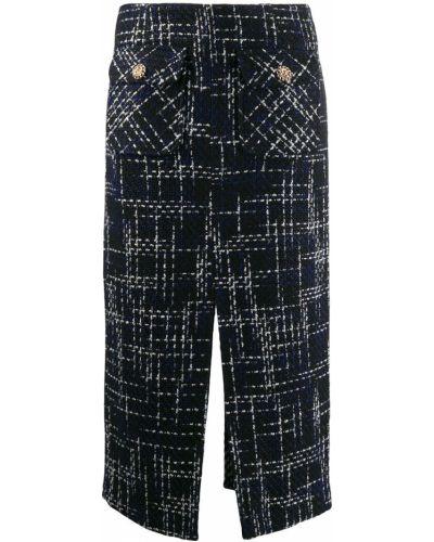 Синяя юбка миди с поясом в рубчик Edward Achour Paris