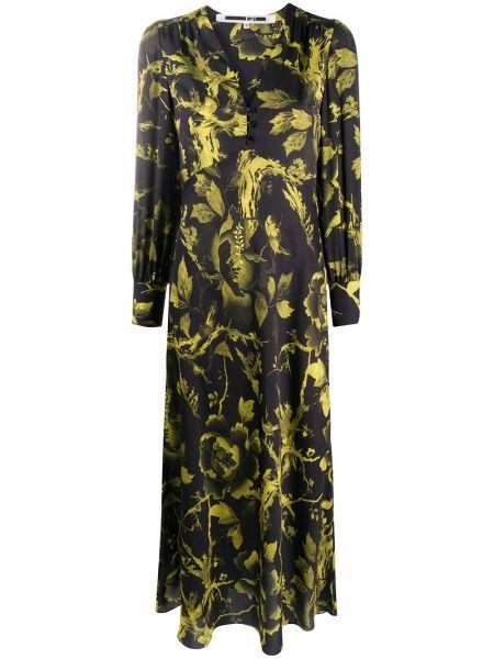 Черное прямое платье макси с V-образным вырезом на пуговицах Mcq Alexander Mcqueen