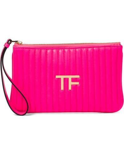 Стеганый розовый клатч из натуральной кожи Tom Ford