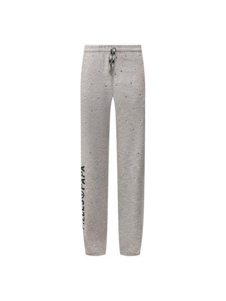Хлопковые серые брюки со стразами с поясом Filles A Papa
