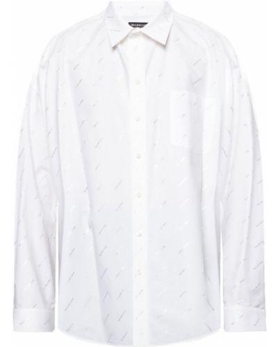 Biała biała koszula bawełniana Balenciaga