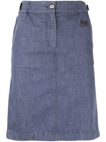Синяя юбка мини на молнии с вышивкой с поясом Céline Pre-owned