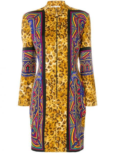 Хлопковое платье мини винтажное с воротником узкого кроя Versus Pre-owned