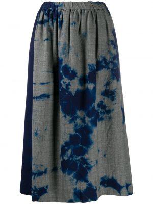 Шерстяная синяя юбка миди с поясом Suzusan