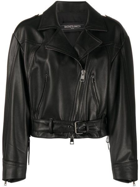 Черная кожаная короткая куртка байкерская Simonetta Ravizza
