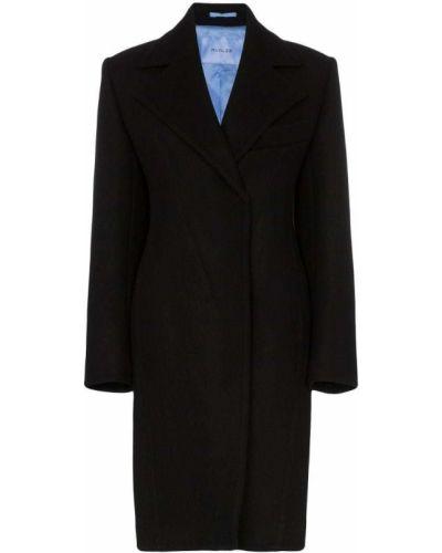 Черное пальто классическое с капюшоном Mugler