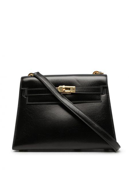 Czarna torba na ramię skórzana Hermes
