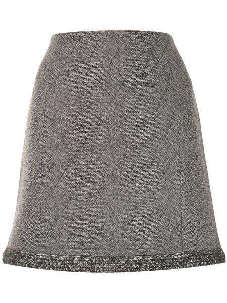 Серая стеганая с завышенной талией юбка мини на молнии Paule Ka