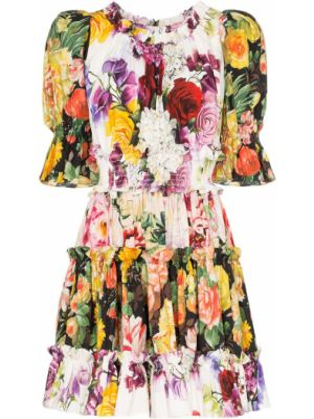 Платье мини с оборками с вырезом эластичное круглое Dolce & Gabbana