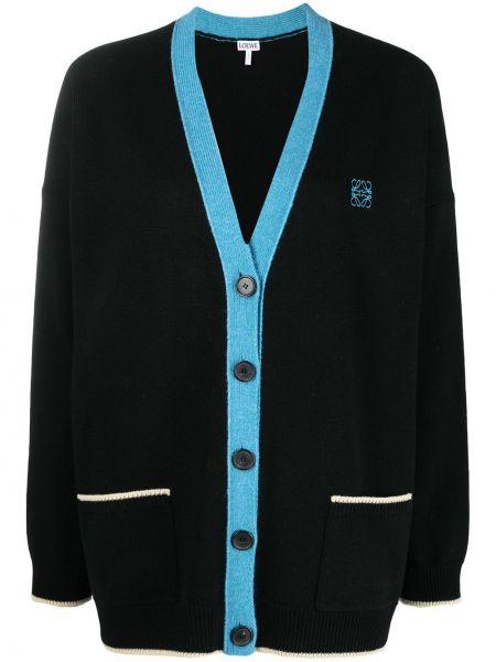 Шерстяное черное длинное пальто с вышивкой Loewe