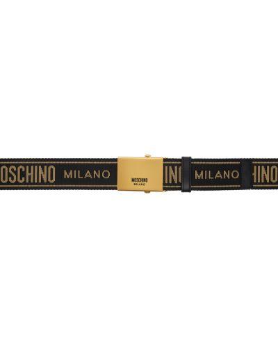 Czarny pasek skórzany z paskiem Moschino