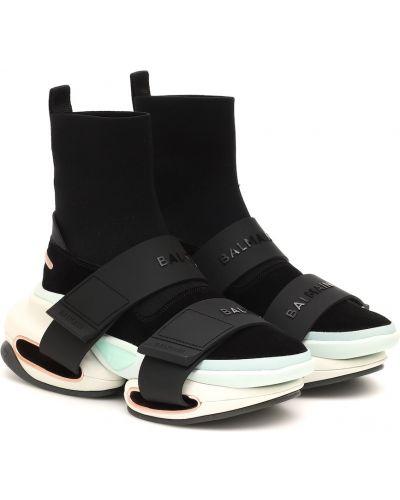 Черные текстильные кроссовки Balmain