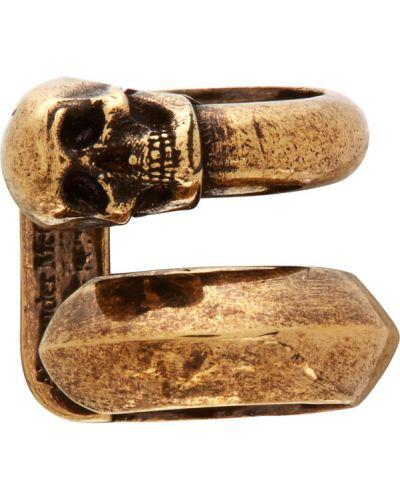 Кафф золотой с манжетами с черепами Alexander Mcqueen