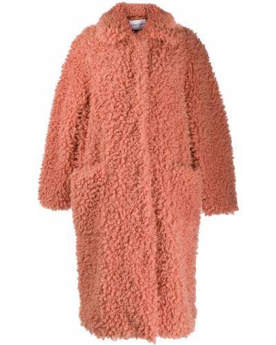 Розовое длинное пальто с воротником Stand