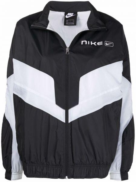 Czarna długa kurtka z printem z długimi rękawami Nike