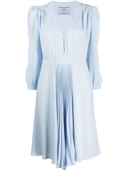 Шелковое плиссированное платье миди на пуговицах с V-образным вырезом Prada