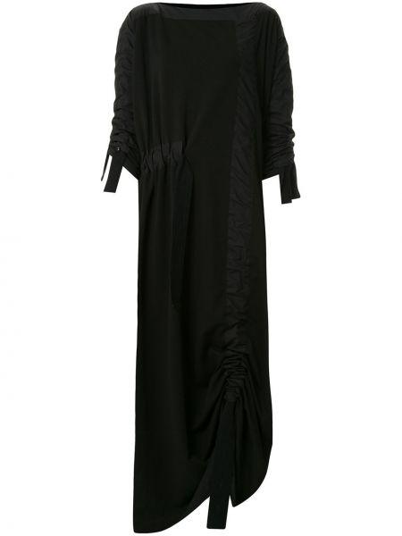 Черное плиссированное платье с воротником с оборками Taylor