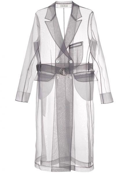 Серое пальто с воротником двубортное с карманами Kimhekim