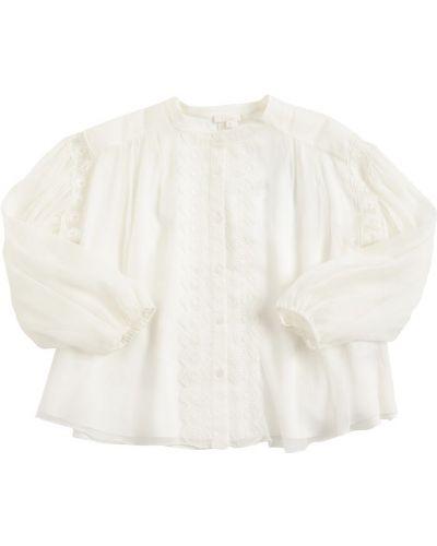 Biała koszula koronkowa z jedwabiu Chloe