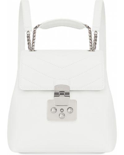 Кожаный рюкзак белый на молнии Furla