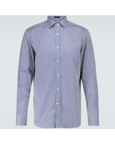 Хлопковая синяя рубашка в полоску Ralph Lauren Purple Label