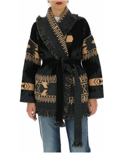 Czarny z kaszmiru płaszcz Alanui