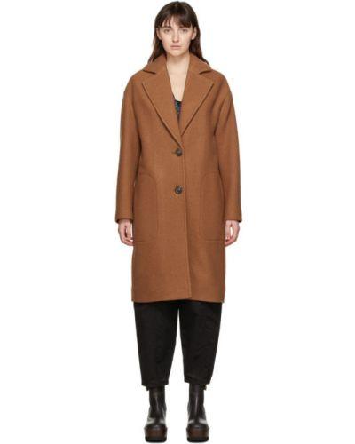 Коричневое шерстяное длинное пальто с воротником See By Chloé