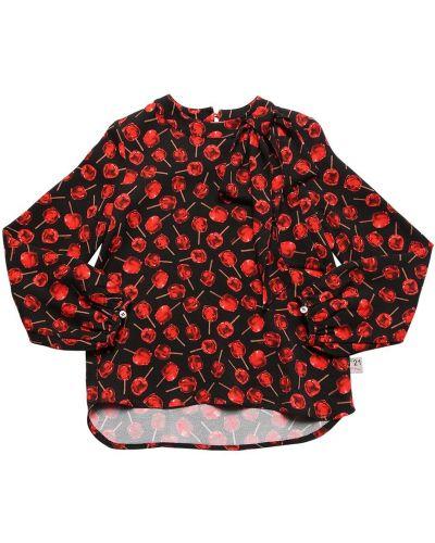 Красная рубашка из вискозы с манжетами с круглым вырезом N21