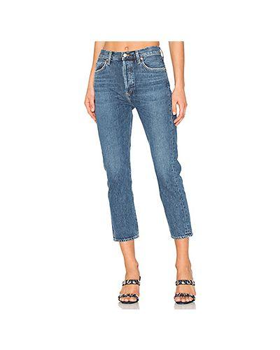 Прямые джинсы укороченные с эффектом потертости Agolde