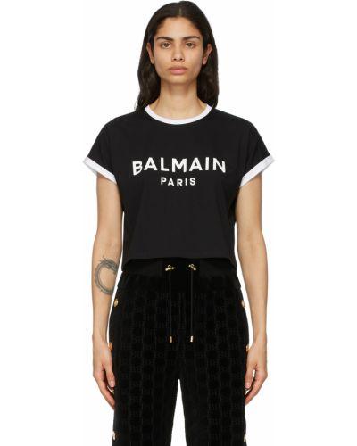 Белая футболка короткая Balmain