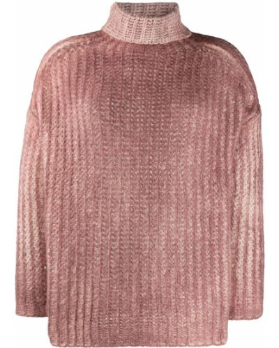 С рукавами шелковый розовый вязаный джемпер с высоким воротником Avant Toi