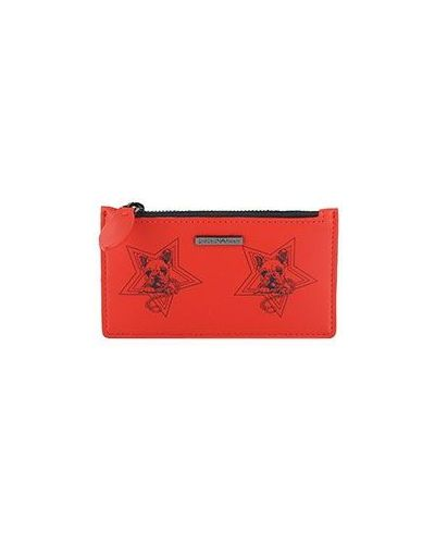 Кожаный кошелек - красный Emporio Armani